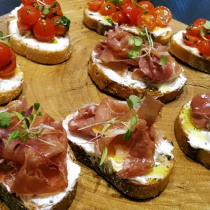 Tastings of Tomato and Prosciutto Toasts on our Foodie Tour on the Las Vegas Strip
