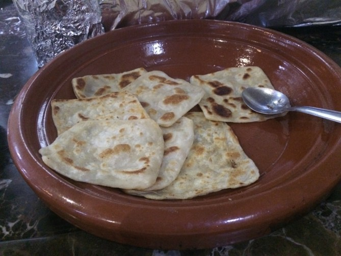 Msemen - flattened square-shaped rghaif. The dough is kneaded like bread dough until soft and smooth.