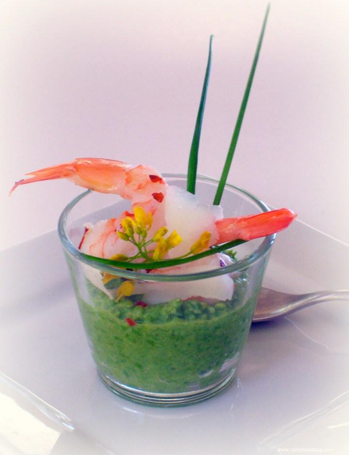 Sautéed Garlic Shrimp with Minted Pea Purée and Pecorino