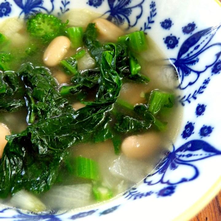 Broccoli Rabe, White Bean and Parmesan Soup