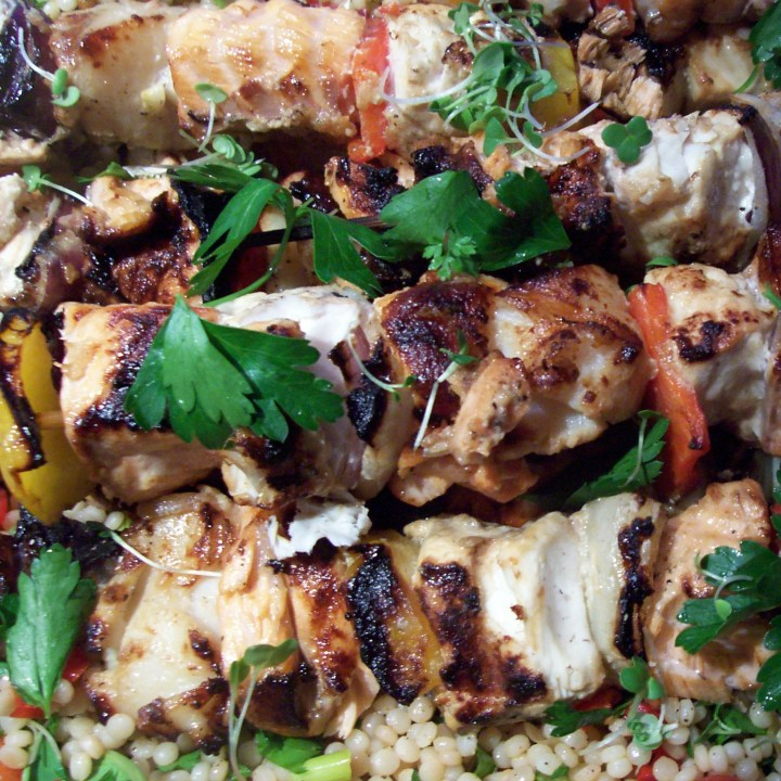 Grilled Soy and Mustard Marinated Fish Kebabs