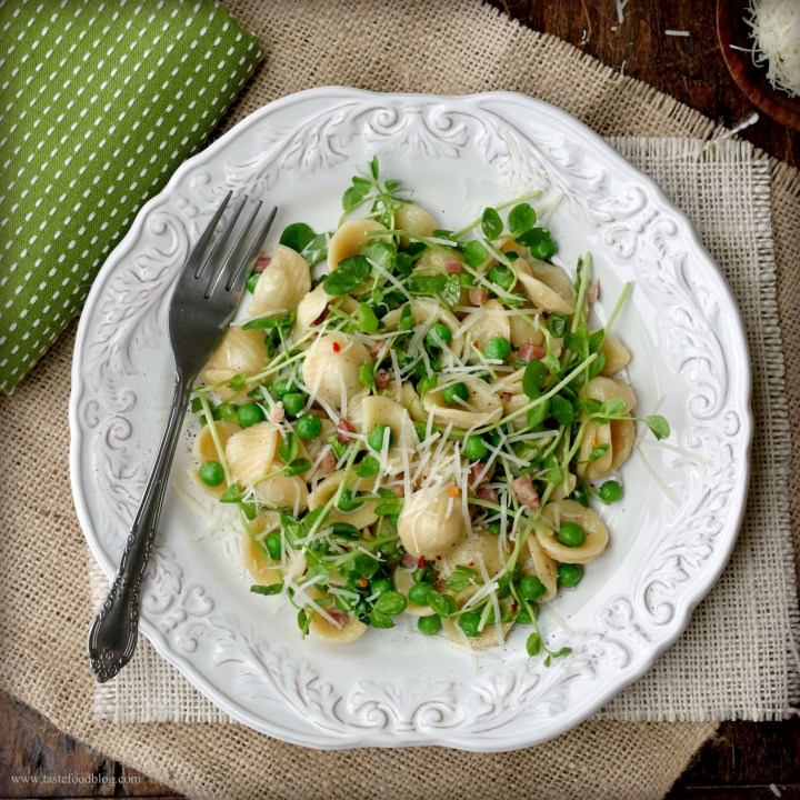 Spring Pasta: Orecchiette with Spring Peas, Pancetta and Pea Shoots