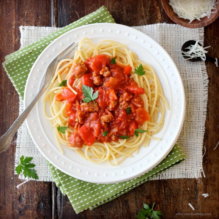 Spaghetti with Italian Sausage Ragout
