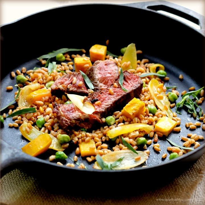 Warm Steak and Farro Salad with Roasted Beets, Onions and Chickpeas