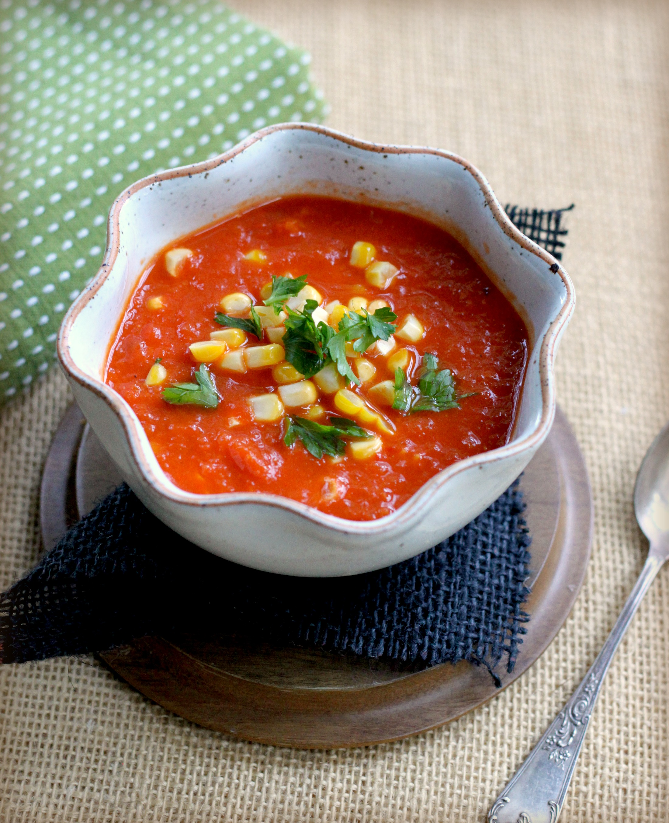 slow roasted tomato and red pepper soup with sweet corn