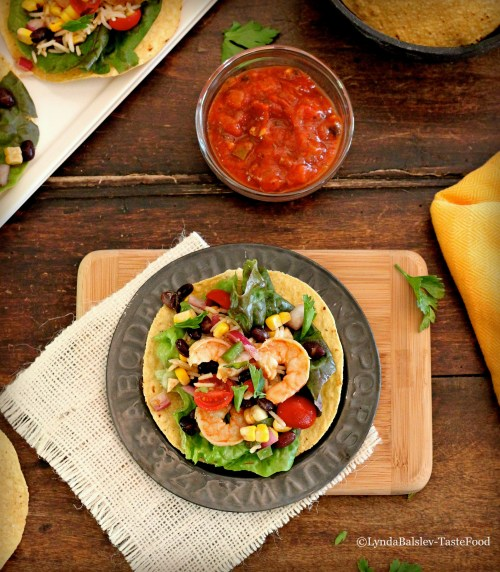 Lime shrimp tostadas