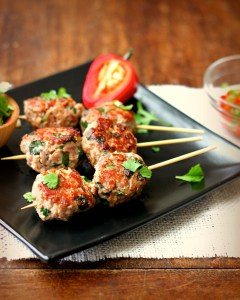 Asian spiced meatball skewers with a sweet chili dipping sauce