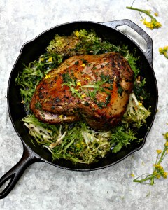 Chermoula Marinated Lamb with Wilted Spring Greens