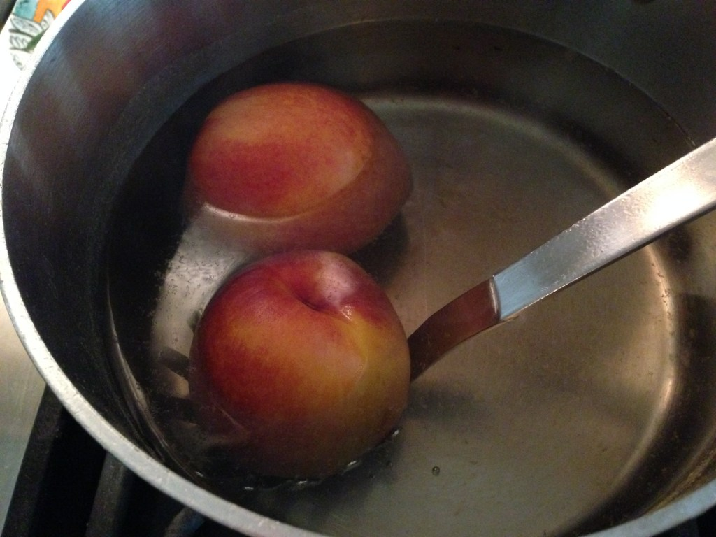Blanch peaches quickly in boiling water