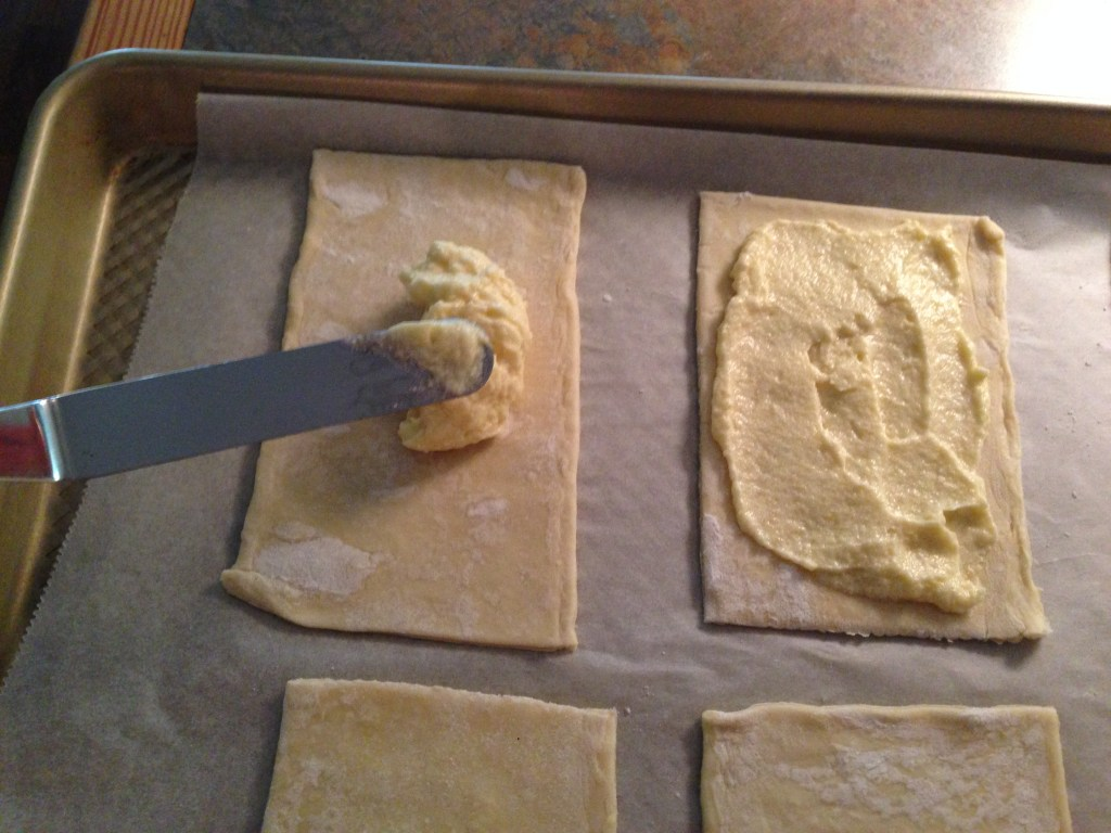 Spread frangipane filling onto each piece of pastry