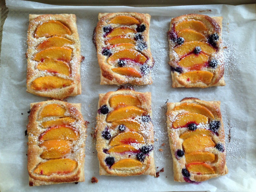 Baked blueberry peach galettes