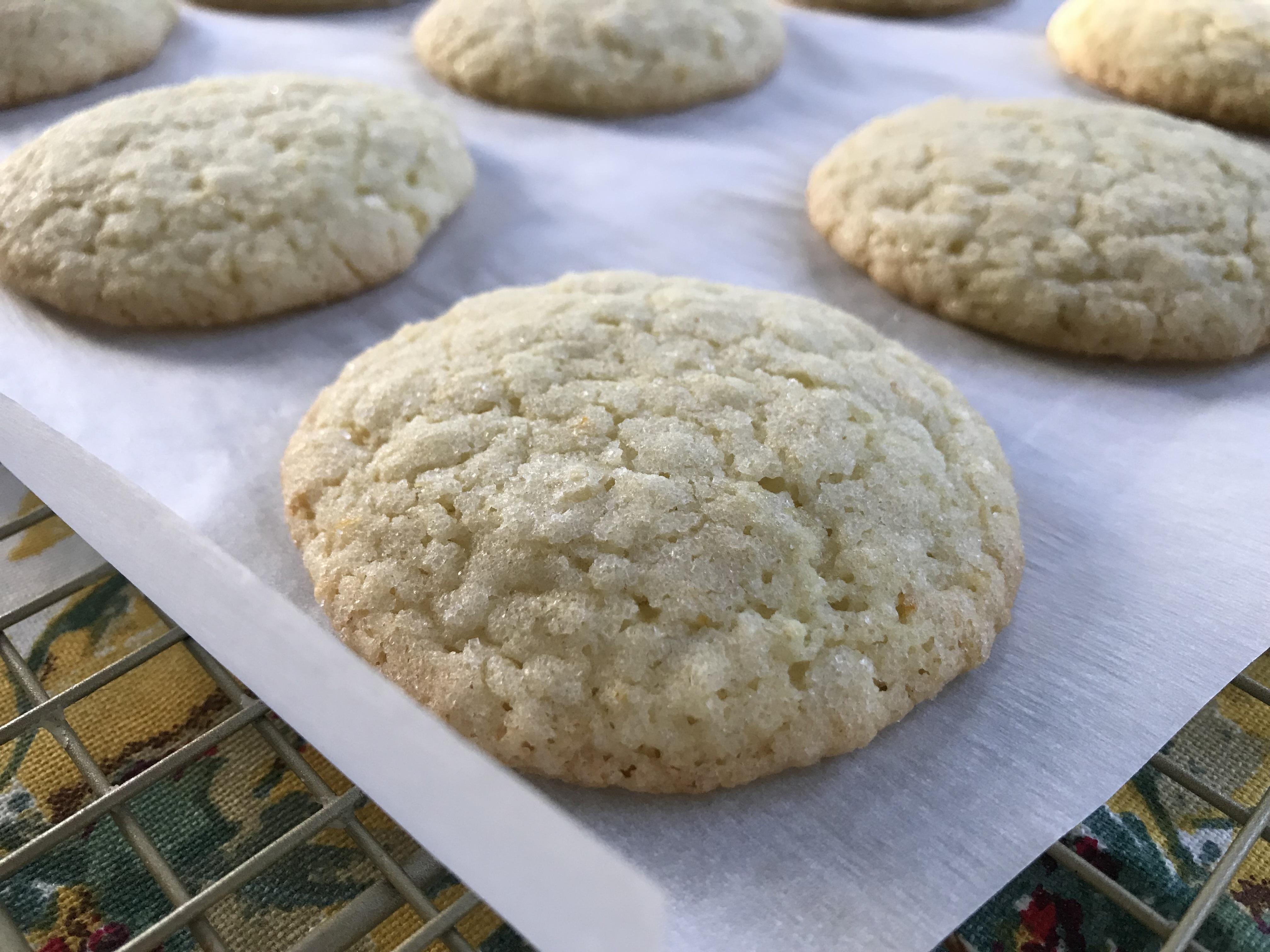 Freshly baked Meyer Lemon Sugar Cookies