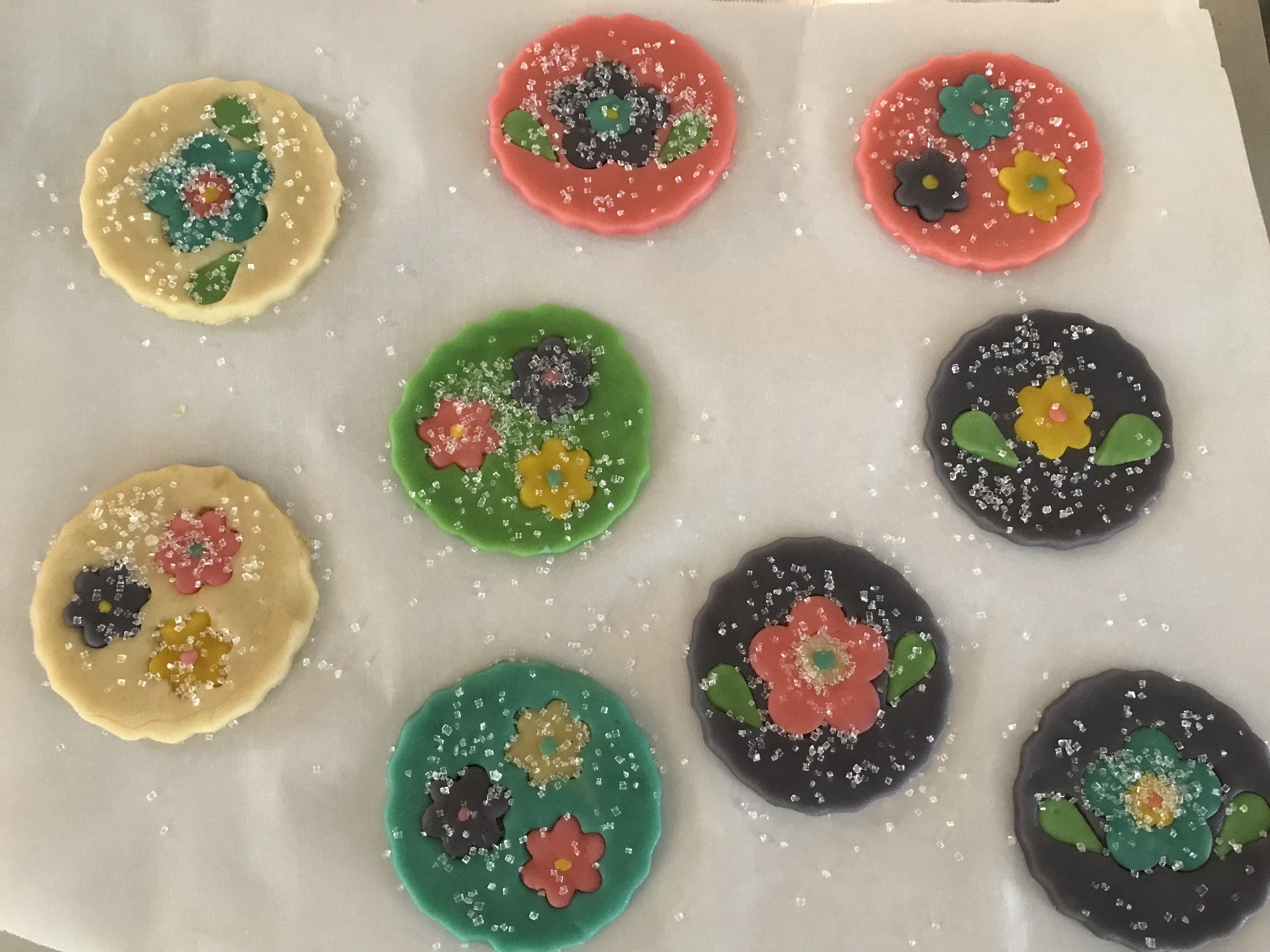 Finishing Sparkling Flower Sugar Cookies