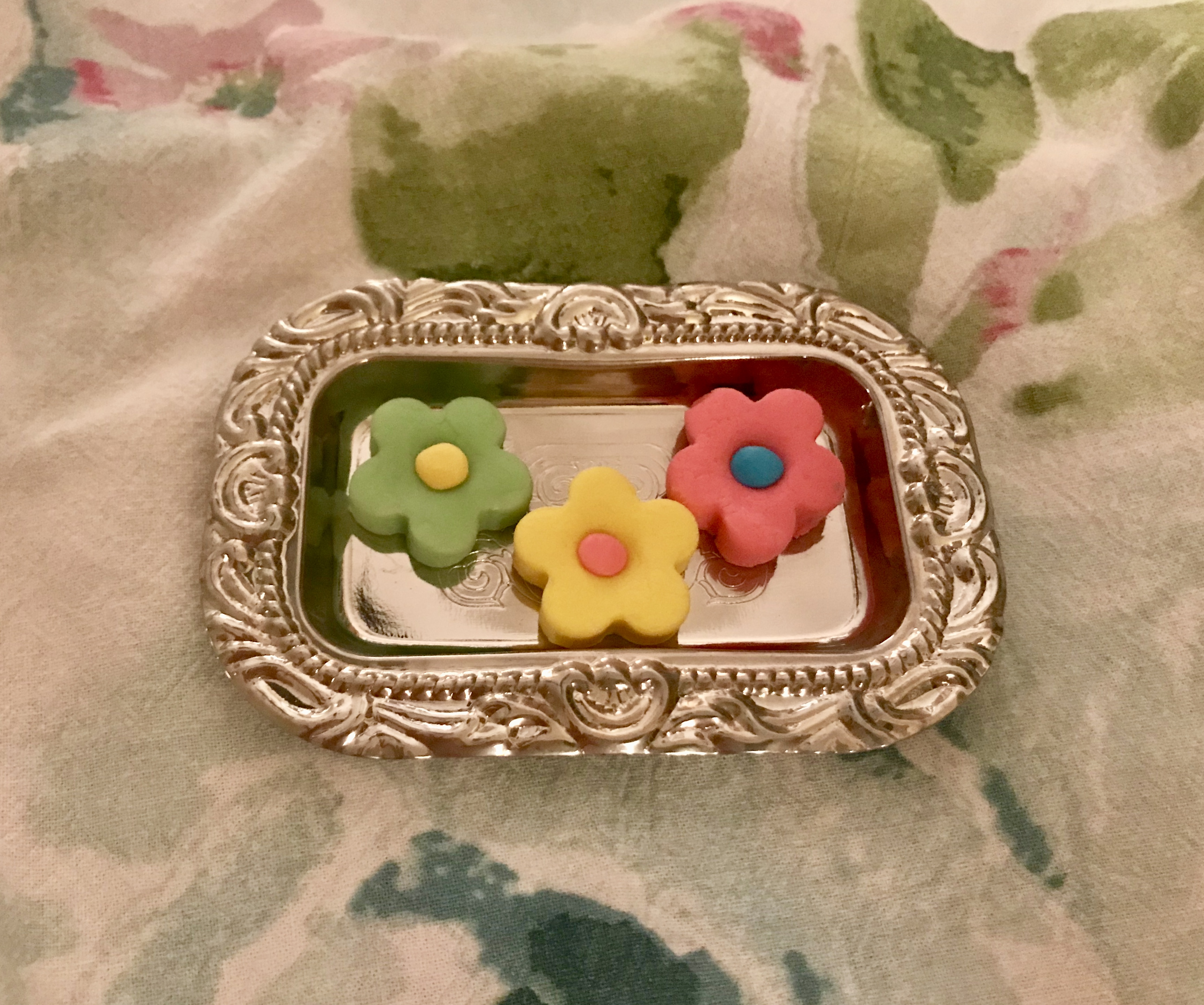 Butter Mints on miniature silver tray