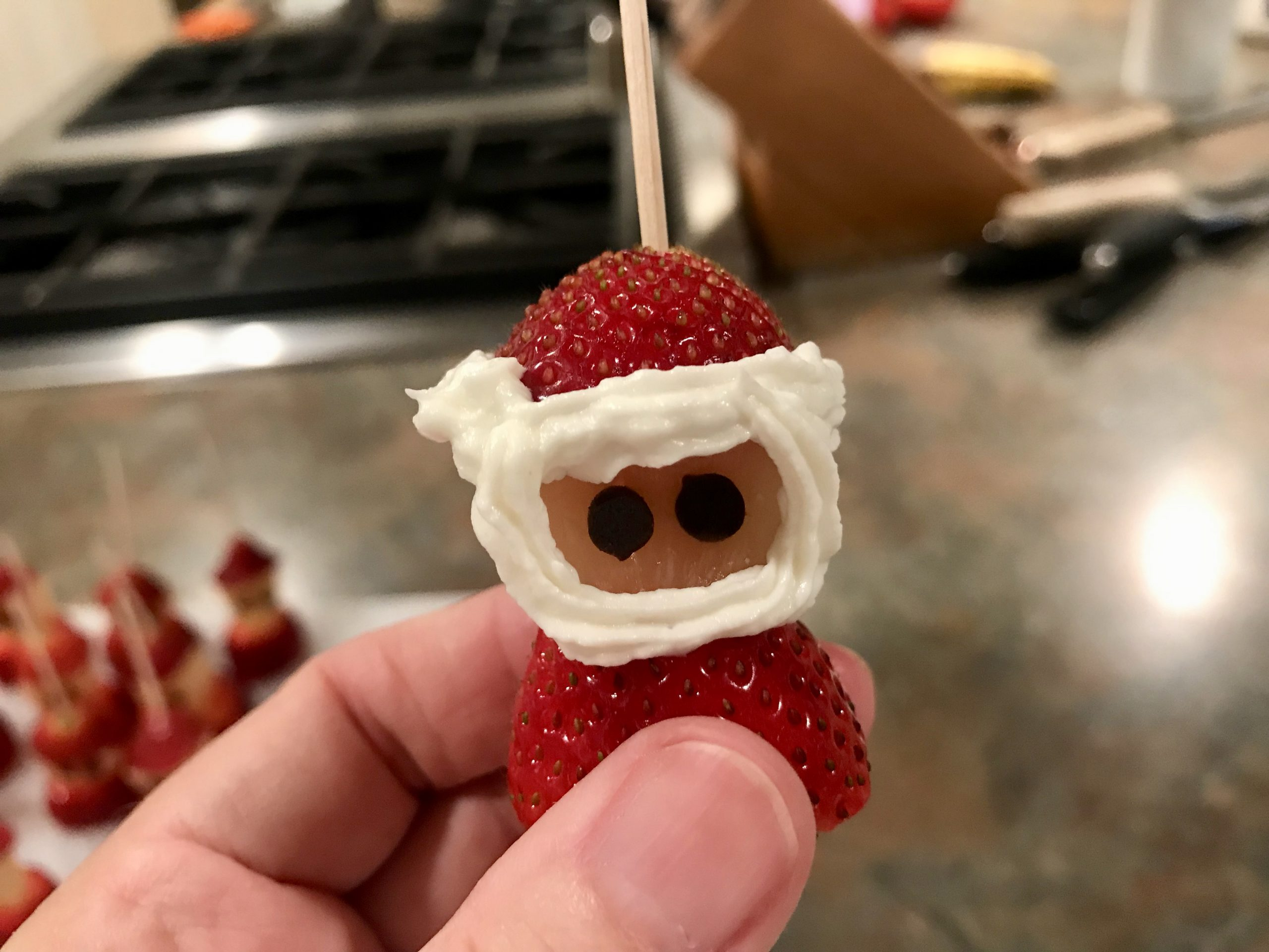 Piping for Strawberry Cream Cheese Santas