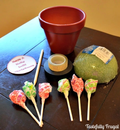 12 Frugal Days of Christmas Day 7: Have A Holly Lolli Christmas- Santa Lollipop Tree