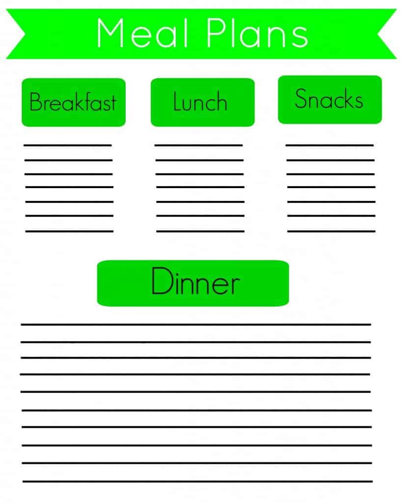 FREE Meal Plan Printable