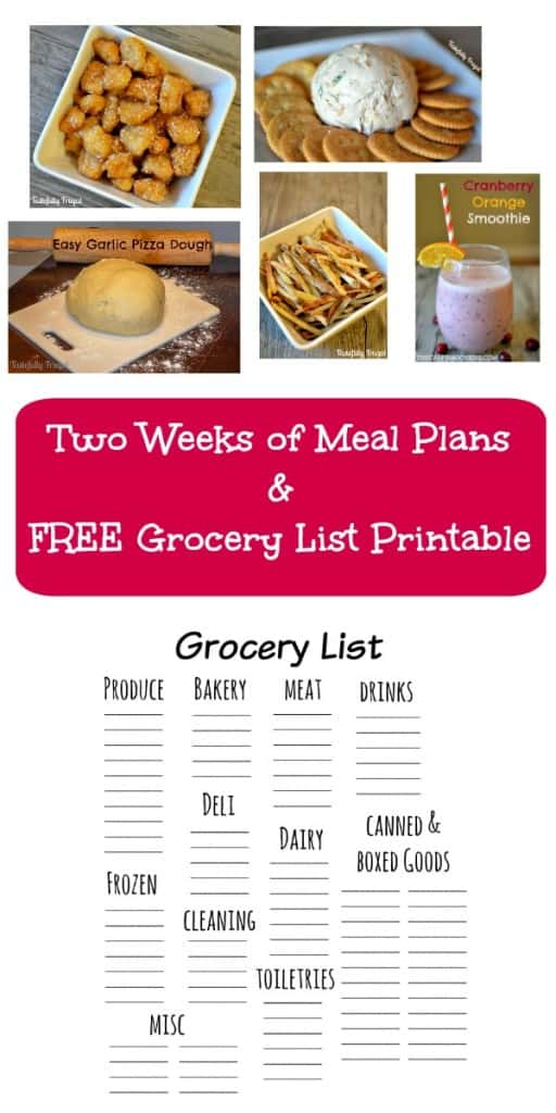 2 Weeks of Meal Plans Plus FREE Grocery List Printable
