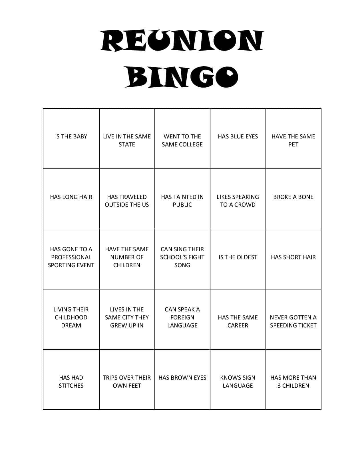 Reunion Bingo Free Printable
