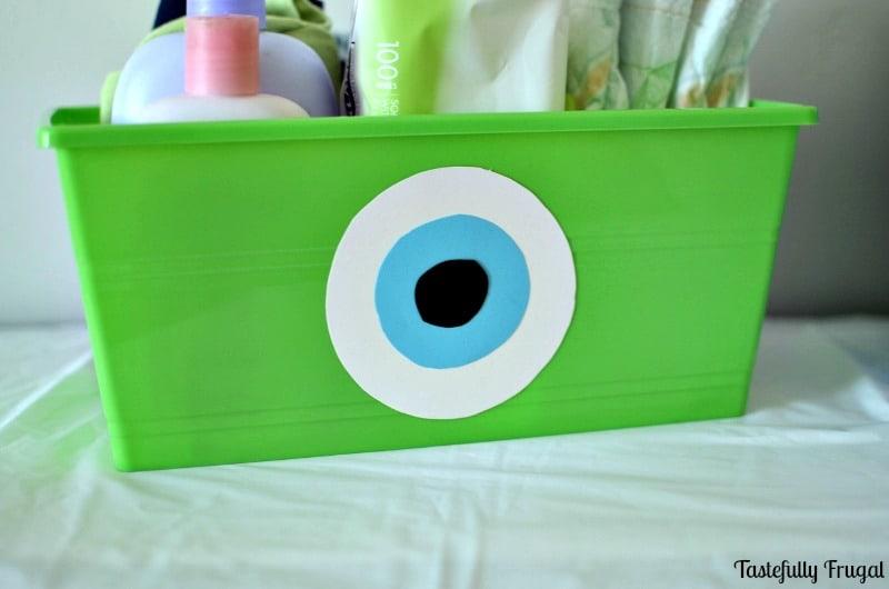 $1 DIY Monsters Inc. Storage Bins www.tastefullyfrugal.org AD #MagicBabyMoments #CollectiveBias @Walmart