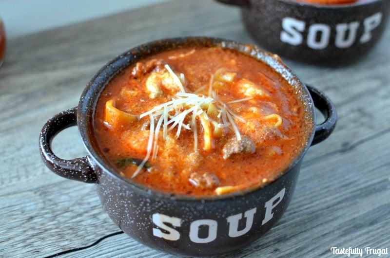 One Pot Lasagna Soup: Make in 30 Minutes |Tastefully Frugal #ad #Ragu #SimmeredInTradition