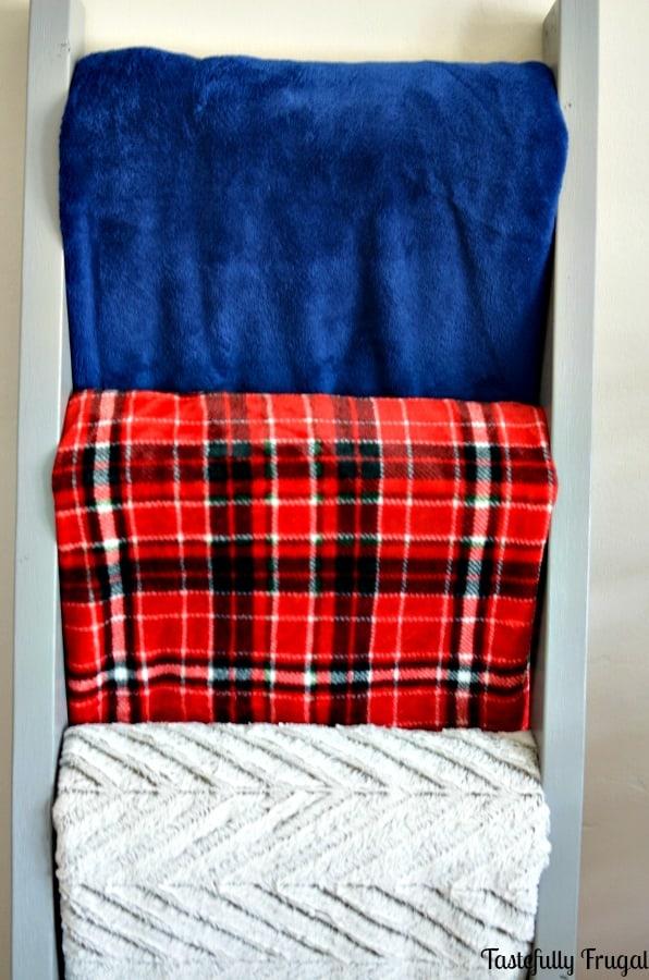 Easy DIY Blanket Ladder | Tastefully Frugal ad #BIGSeason #BigLots #CollectiveBias @BigLots
