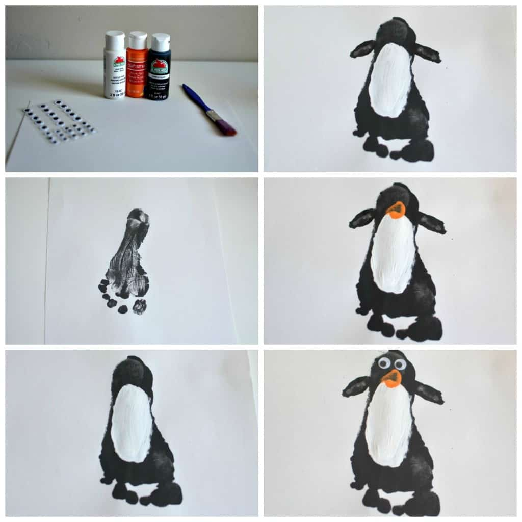 5 Winter Crafts for Toddlers: Penguin Footprint Art |Tastefully Frugal