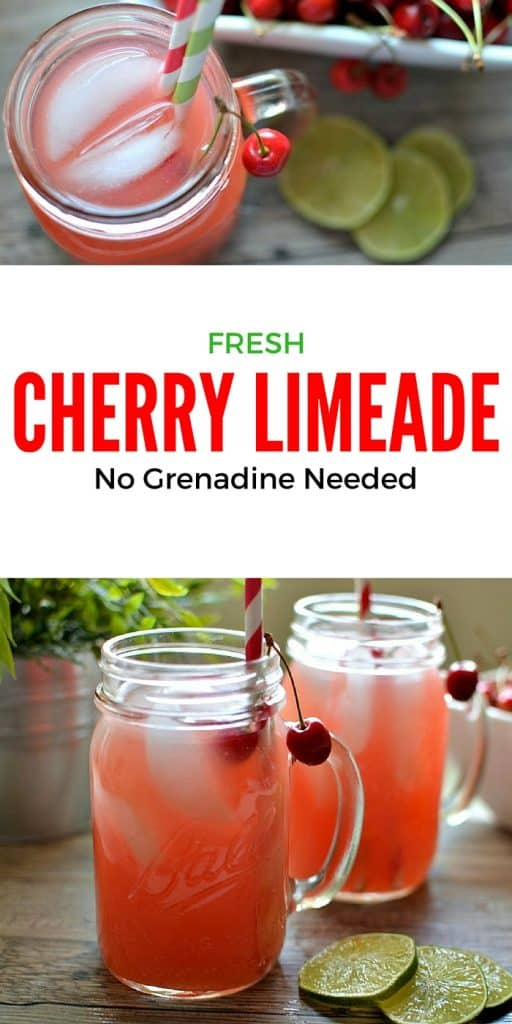 Fresh Cherry Limeade: This sweet limeade is the perfect way to cool down on a hot summer day and doesn't require any grenadine | Tastefully Frugal