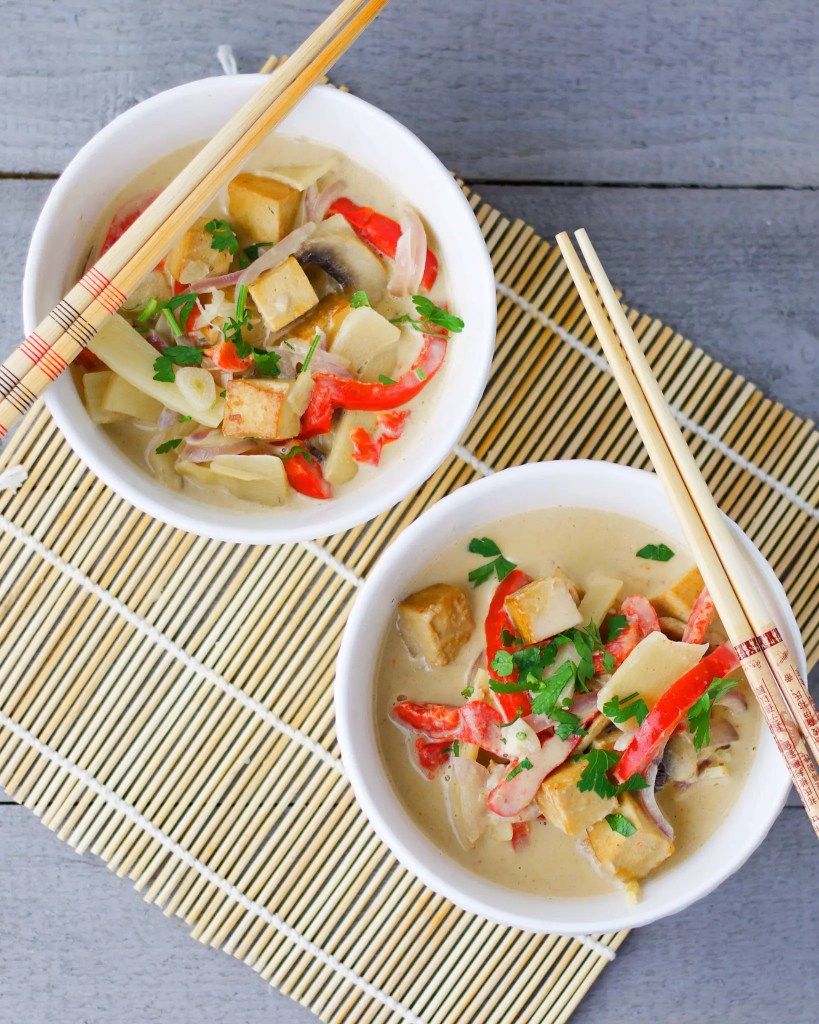 Easy VEGAN yellow curry tofu recipe ready in 15 minutes.