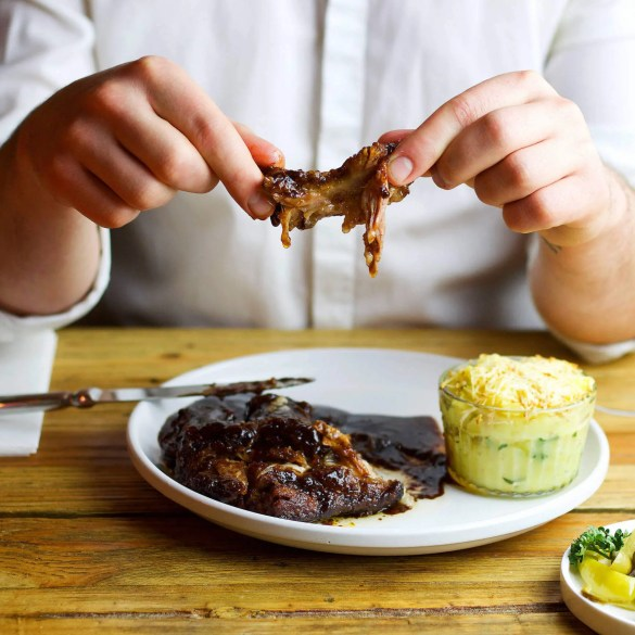 Slow roasted BBQ ribs with creamy sauce, and baked mashed potatoes with smoked cheese. You will just lick your fingers. 2