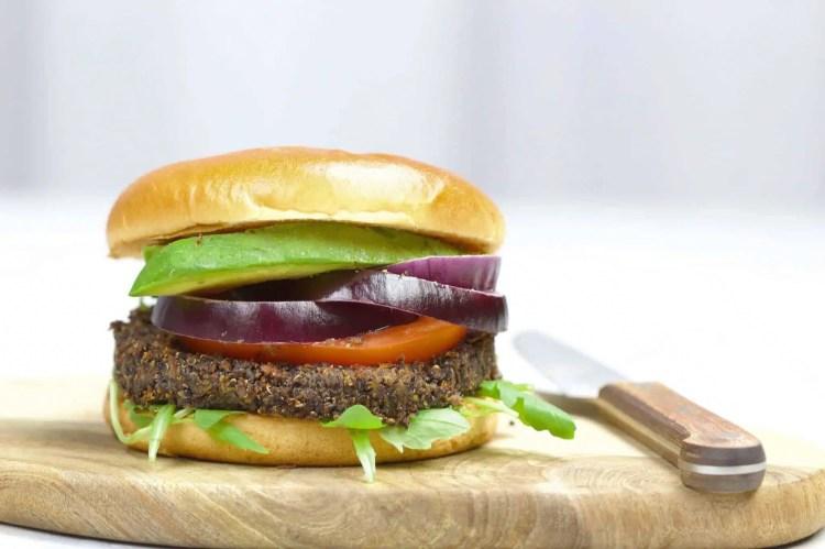 Black quinoa burger