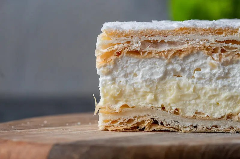 Papal cream cake or kremowka. - One of the best Polish desserts.