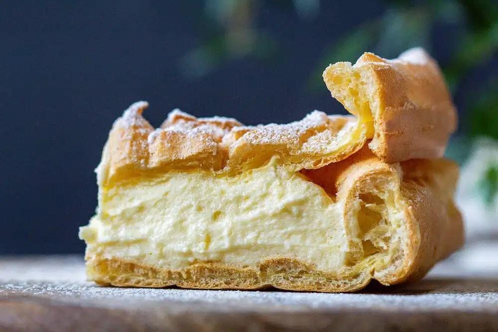 Traditional Karpatka – one of the most popular Polish desserts.