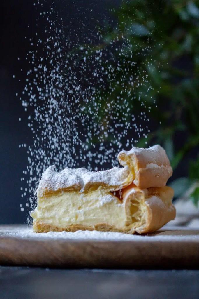 Traditional Karpatka - one of the most popular Polish desserts.