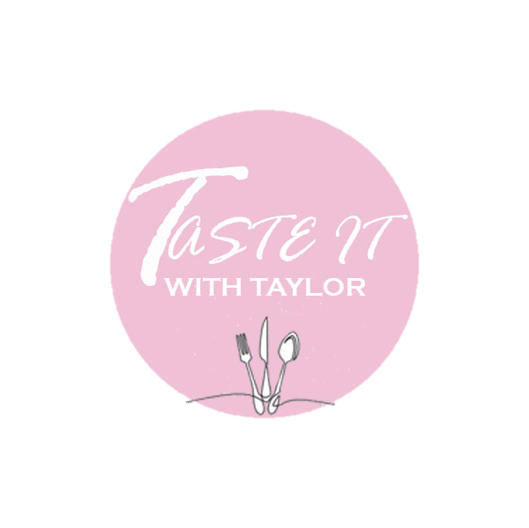 logo that says taste it with taylor and has a fork knife and spoon picture