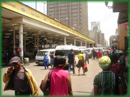 Johannesburg free tour, uses the Cheap Transport Option, this is the Local Taxi Noord Street Node.