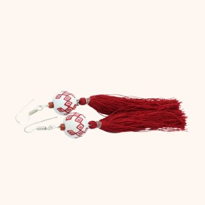 Rinyang earrings - white and red 2