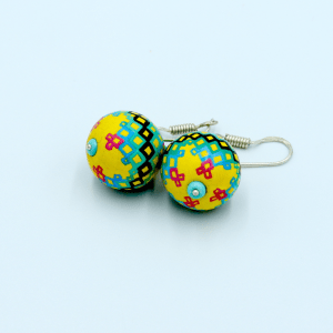 Rinyang - yellow and turquoise earrings 2