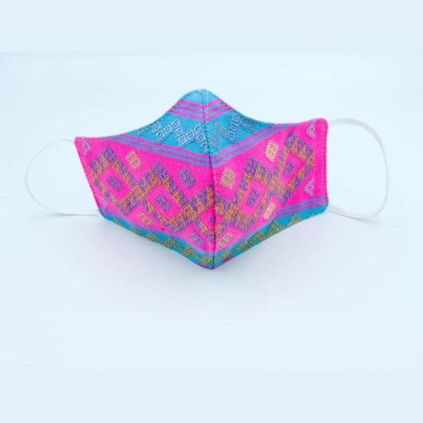 Kelzang face mask - blue & pink 1