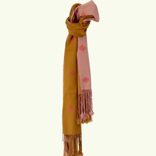 Bhutanese Textiles - CDK scarf pink and mustard 1