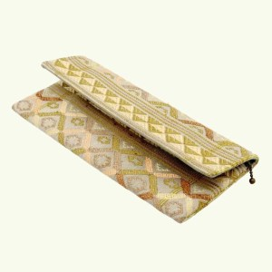 Natural dyed silk clutch by Kelzang Textiles - Beige 1