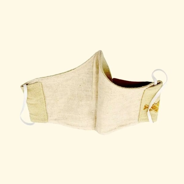 beige handwoven face mask by CDK 4