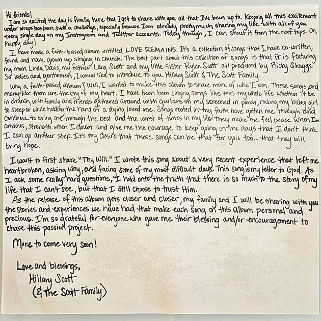 Hillary Scott Letter