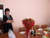 """Our director seeing her birthday """"стол"""" (table)"""