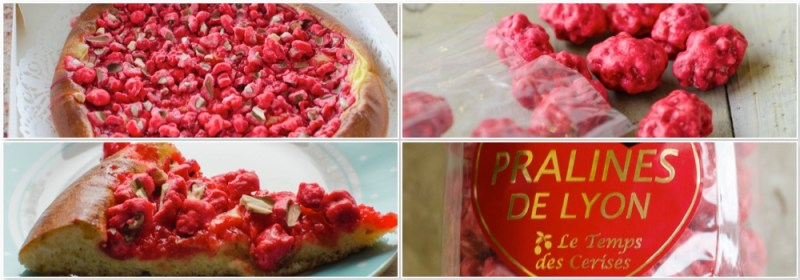 The pink praline is a Lyonnaise speciality.  It is a sugar-coated almond, the sugar coating is naturally coloured pink and lightly flavoured.