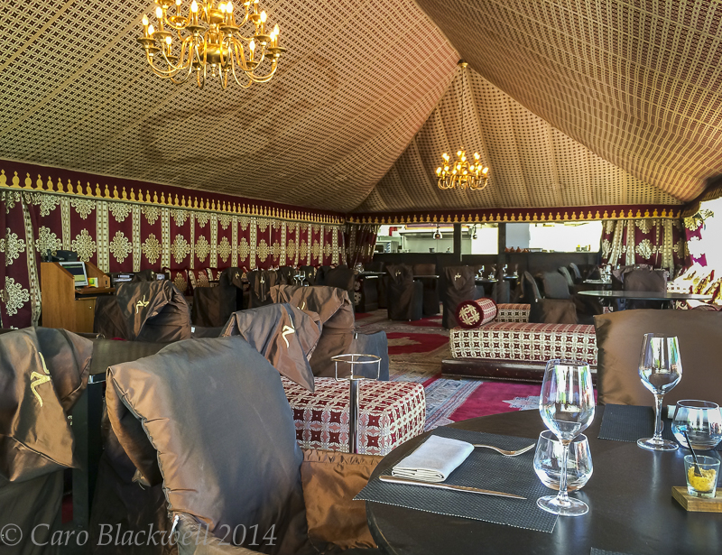 Inside the Moroccan tent at The Palace Beach Restaurant