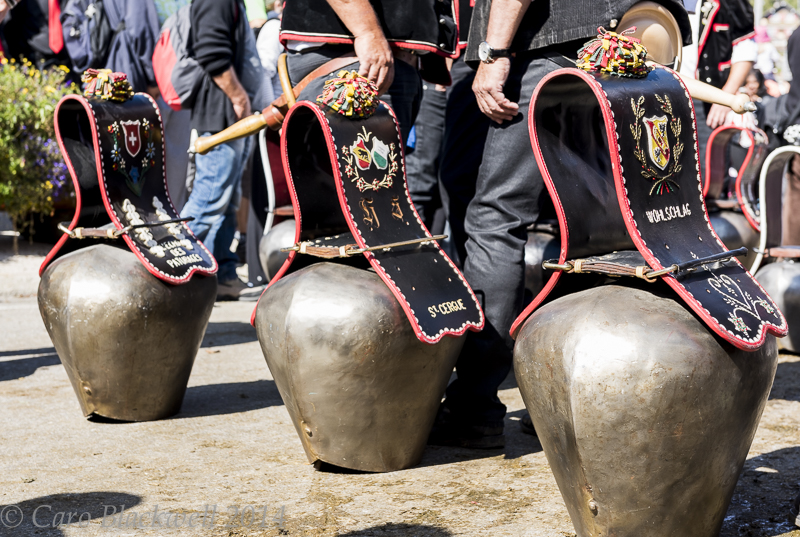 Traditional cow bells in the parade at La Desalpe Saint Cergue