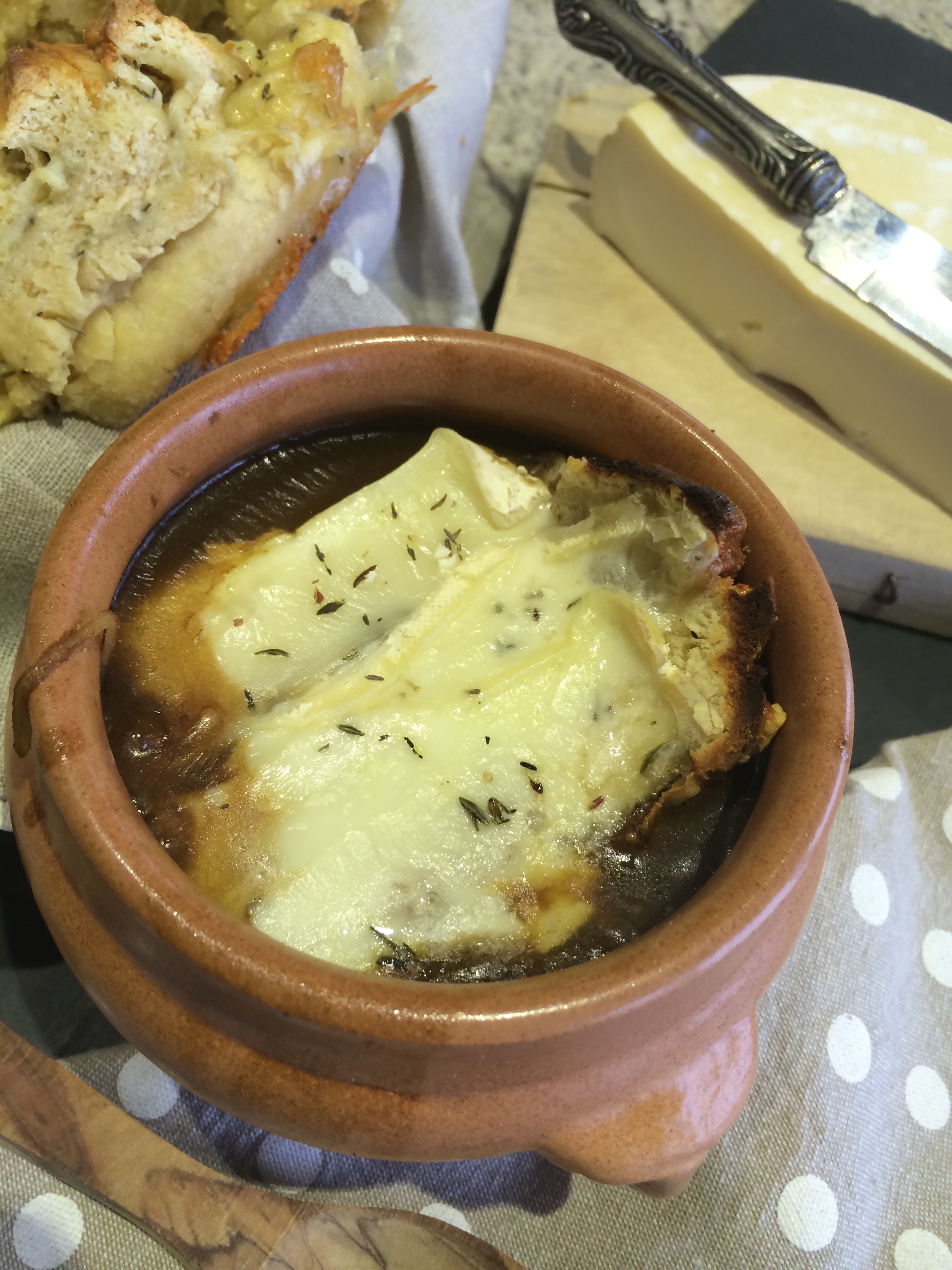For a hearty lunch with a french crusty baguette  1. A Fusion Savoyard French Onion Soup
