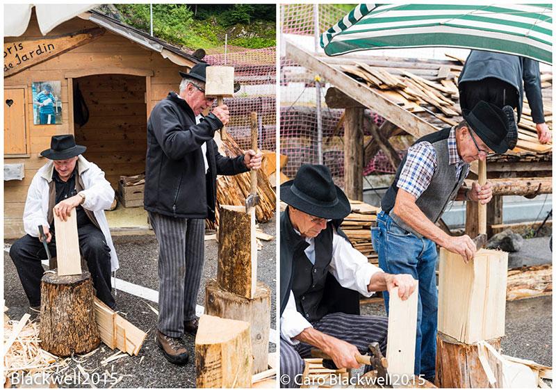 Artisans woodworking at La Fête du Reblochon