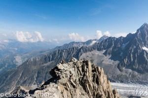 Rock climbing above the Argentiere Glacier!